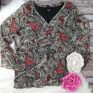 Bob Mackie career casual red paisley top size 20w